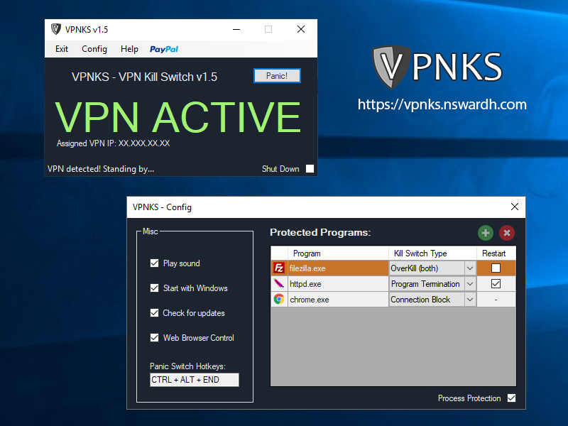 Click to view VPNKS VPN Kill Switch 1.7 screenshot
